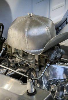 fabricated metal baseball cap as a carb cover. Custom Rat Rods, Custom Cars, Chevy Pickup Trucks, Old Trucks, Semi Trucks, Rat Rod Cars, Custom Metal Fabrication, Truck Mods, Shop Truck