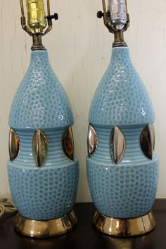 Set of 2 Textured Teal Blue Ceramic Lamps w/Gold Base, $95.00 from LittleRedHenONLINE on Etsy