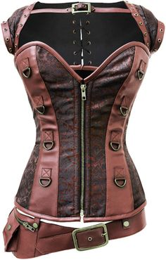 Create the perfect Steampunk look with this brown corset top that features a detachable brown jacket and belt.  Custom sizes, steel boning, brass detailing all create a perfect storm.