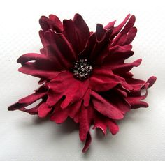 Handmade genuine leather flower brooch in by JewelryWithTaste