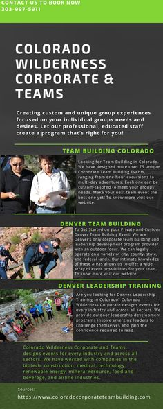 To Get Started on your Private and Custom Denver Team Building Event! We are Denver's only corporate team building and leadership development program provider with an outdoor focus. We can legally operate on a variety of city, county, state, and federal lands. Our intimate knowledge of these areas allows us to offer a wide array of event possibilities for your team. To know more visit our website.