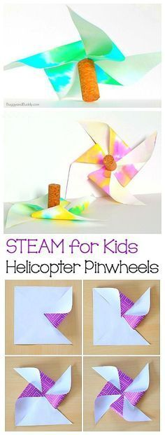 STEM Activity for Kids: Paper Helicopter Pinwheels (with free printable template)- fun summer activity or boredom buster and a great way to explore gravity and air resistance! ~ BuggyandBuddy.com