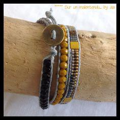 Wrap moutarde gris et noir : Bracelet par sur-un-malentendu-by-aa