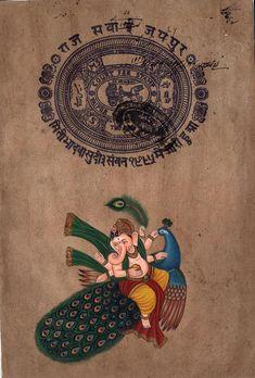 Ganesha Peacock Hindu Painting Handmade Indian Miniature Ethnic Ganesh Folk Art