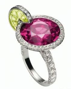 Piaget - white gold, diamonds, tourmaline and citrine quartz ring