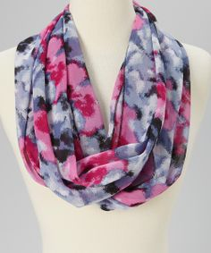 Purple & Gray Tie-Dye Infinity Scarf