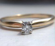 Vintage Artcrest .10 ct Round Brilliant Diamond Solitaire Engagement/Promise Ring, 14K yellow gold, Stamped, Size 5, VS2-SI1, G-H, April by ShayEstate on Etsy https://www.etsy.com/listing/243847856/vintage-artcrest-10-ct-round-brilliant