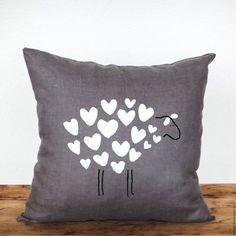 Купить Подушка декоративная на диван с сердечками - темно-серый, подушка, подушка декоративная, подушка на диван