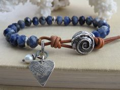 Hand-Knotted Beaded Leather Bracelet, Semiprecious Sodalite Stone, Dark Blue…