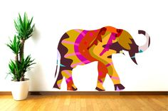 Nursery Decor Colorful Elephant Wall Decal, Large Brown and Orange Elephant Sticker, Safari Elephant  Decor, Kids Playroom Decal by Popitay on Etsy https://www.etsy.com/listing/167603046/nursery-decor-colorful-elephant-wall