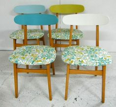 chairs with vintage sanderson fabric seats by vera