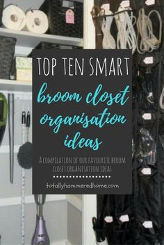 Discovering ways to organise our broom closet. Our favourite ideas for getting the space that holds the items that keep your house neat and tidy, neat and t Closet Organisation, Organisation Ideas, Organization, Neat And Tidy, Paint Splatter, Top Ten, Clever, Getting Organized, Laundry Closet Organization