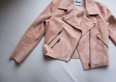 Soft, suede leather jacket by Acne, in peachy-pink with rosegold details.
