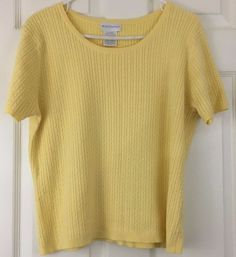 Worthington Short Sleeve Knit Top Sweater Spring Summer Yellow Pullover Size XL #WorthingtonIndustries #Crewneck #WorkCasualClub