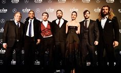 Producer Charles Roven, Ray Fisher, Ezra Miller, Ben Affleck, Gal Gadot, Henry Cavill and Jason Momoa in Beijing, China promoting Justice League (2017).