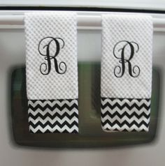 Monogrammed Chevron Bath Hand Towel by RaleighGram on Etsy, $13.99