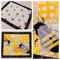 Bee in the Hive mug rug- I like the use of sheer fabric for the wing! Small Quilts, Mini Quilts, Mug Rug Patterns, Quilt Patterns, Quilting Projects, Sewing Projects, Fabric Crafts, Sewing Crafts, Fabric Postcards