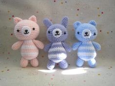 Cat,bunny,and bear.Free crochet pattern