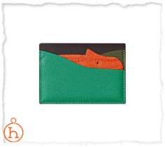 Porte-cartes hippopotame Hippopotame card holders in calfskin, goatskin and alligator skin. Holds up to 3 cards. Size: 7 cm x 10 cm x 0.2 cm Colour: green, brown