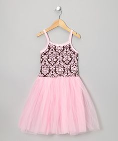 Another great find on #zulily! Pink & Brown Damask Tutu Dress - Toddler & Girls #zulilyfinds
