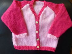 Handmade knitted baby girls v necked cardigan upto by BulldogKnits