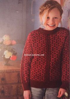 Colour and cables combine on this snuggly yet smart jumper for girls, inspired by Faroese style. Knitting For Kids, Free Knitting, Jumper, Men Sweater, Girls Sweaters, Cardigans, Knit Patterns, Cute Kids, Mittens