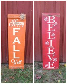 Fall/Christmas Themed Reversible Welcome Sign Approximate size: 48 tall by 14.5 wide. Want to make it a reverisble sign? Just use the drop down menu and pick the sign you would like. Love the sign, but want a different saying? Just send me a message and I can come up with something different for you. ~Please note I cannot promise the flower will match the picture. I will use the flower I have in stock at the time. ~Please note the wood may not be the exact stain color as the picture. Each…