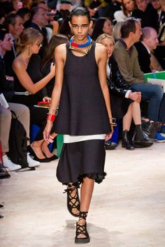 Love the Jewelry and shoes in look 12 of Celine spring collection