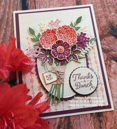 I am in love with the Beautiful Bouquet Bundle from Stampin' Up!. I'm going to call this a mega bundle because the Beautiful Bouquet set includes thirty-seven stamps and twenty-one dies. Isn't that fabulous? This bundle can be found in our current Annual Catalog on page 92-93. This is my card for a demonstrator …