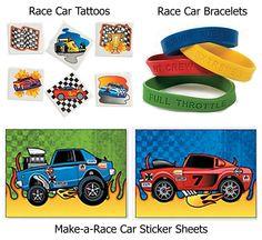 96 Pc Race Car Party Favor Pack Make-a-Race Car Sticker Sheets, 12 Race Car Bracelets, & 72 Race Car Tattoos) Race Car Birthday, Race Car Party, 5th Birthday, Race Cars, Birthday Ideas, Race Car Stickers, Cars Party Favors, Car Tattoos, Packing