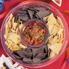 Red, white, and blue chips and salsa.  Such a simple idea.  I need to remember to do this.