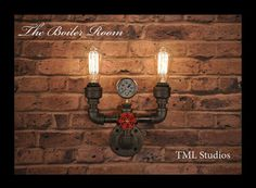 The Boiler Room - Industrial Plumbing Pipe Edison Wall Sconce Steampunk Light Fixture Beer Bottle Lights, Wine Bottle Wall, Beer Bottles, Rustic Wall Sconces, Candle Wall Sconces, Torches Tiki, Plumbing Pipe Furniture, Pipe Lighting, Industrial Chandelier