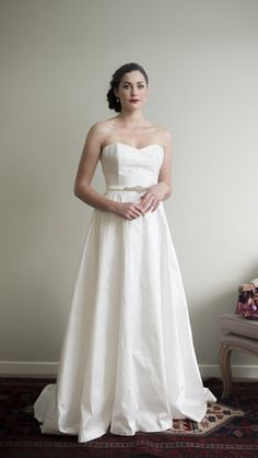 Alabaster Dress with Half Circle Skirt by Sophie Voon Bridal Sophie Voon wedding dresses lovingly designed and crafted in our Wellington, New Zealand workroom. Half Circle, Bridal Wedding Dresses, Lace Bodice, One Shoulder Wedding Dress, Skirts, Beautiful, Collection, Design, Fashion