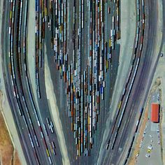 "dailyoverview: ""Roseville Yard, located north of Sacramento, California is the largest rail facility on the west coast of the United States. Operated by the Union Pacific Railroad, the yard..."