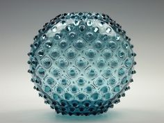 Borske Sklo blue spikey glass ball vase