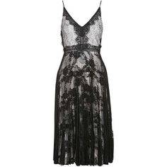 Women's Topshop Lace Pleated Midi Dress ($102) ❤ liked on Polyvore featuring dresses, lacy dress, layered lace dress, layered dress, pleated midi dress and lace midi dress