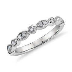 {favorite band}  Milgrain Marquise and Dot Diamond Ring in Platinum (1/5 ct. tw.) | Blue Nile