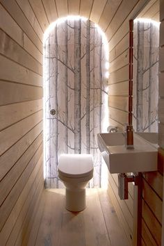 Photo Gallery Website Contemporary Bathroom by Barc Architects Ltd This Cole u Sons Woods wallpaper edged in LED strips creates an ethereal ambience in the narrow space