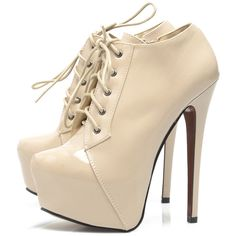 AX Paris Nude Front Platform Lace Up Shoe ❤ liked on Polyvore