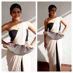 Peplum sari-style gown worn by Vishakha J Singh at Cannes Film Festival 2014