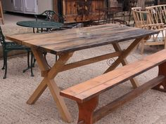 Simple Garden Table from reclaimed wood. (See TimberReclamation.co.uk for more examples). Handcrafted to ANY size!