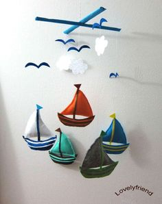 Hanging Mobile - Colorful Sailboats
