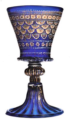 Venetian enameled goblet, 1475 Murano Glass, Venetian Glass, Antique China, Antique Glass, Metal Working, Glass Art, Medieval, Perfume Bottles, At Least