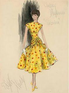 Ciao Bellísima - Vintage Sketchbook; Audrey Hepburn | Edith Head Design in Sabrina, 1954