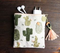 Charger case, Charger bag, linen, embroidery, cactus