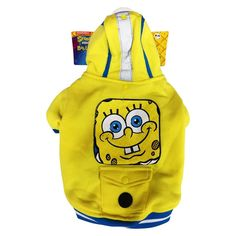 Silver Paw SpongeBob Fleece Hoodie with Waste Dispenser for Dogs - Medium, Yellow