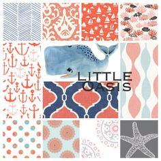 Nautical Crib Bedding; whale, ocean navy/coral. Choose one item (sheet, bumper, skirt, changing cover, blanket, valance, pillow) or a set. by LittleOasisNurseries on Etsy https://www.etsy.com/listing/230166972/nautical-crib-bedding-whale-ocean