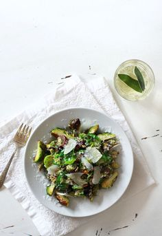 a winter salad of brussel sprouts and grapes