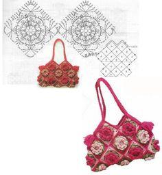 Adventures in Crochet: Photo Crochet Motifs, Crochet Chart, Crochet Squares, Crochet Stitches, Knit Crochet, Crochet Patterns, Crochet Flower Tutorial, Crochet Flowers, Crochet Handbags