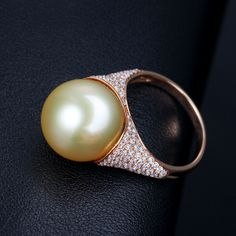 Pearl rings for wedding/engagement are comes with elegant design - available in k gold or sterling silver ring settings, with sparkling gemstones. Pearl Ring, Pearl Earrings, Golden South Sea Pearls, Wedding Engagement, 18k Gold, Sterling Silver Rings, Gemstones, Shots, Diamonds